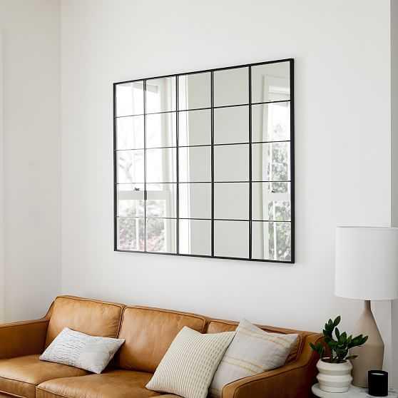 "Raven Window Mirror, Dark Bronze, 44""x55"" - West Elm"
