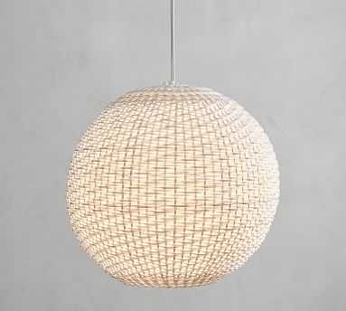 Torrey All-Weather Wicker Indoor/Outdoor Pendant, White, Large - Pottery Barn