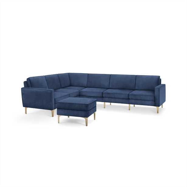 The Nomad Velvet 6-Seat Corner Sectional with Ottoman in Midnight - Burrow