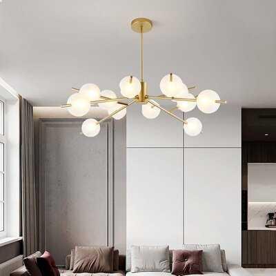 12 Lights Sputnik Gold Painted Metal Glass Chandelier - Wayfair