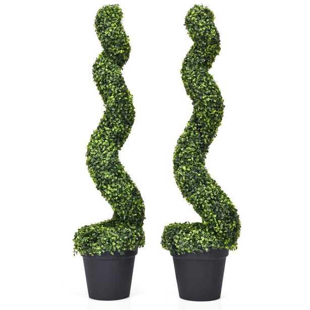 Costway Indoor/Outdoor Artificial Spiral Topiary Tree Office Garden Patio Decoration (Set of 2) - Home Depot