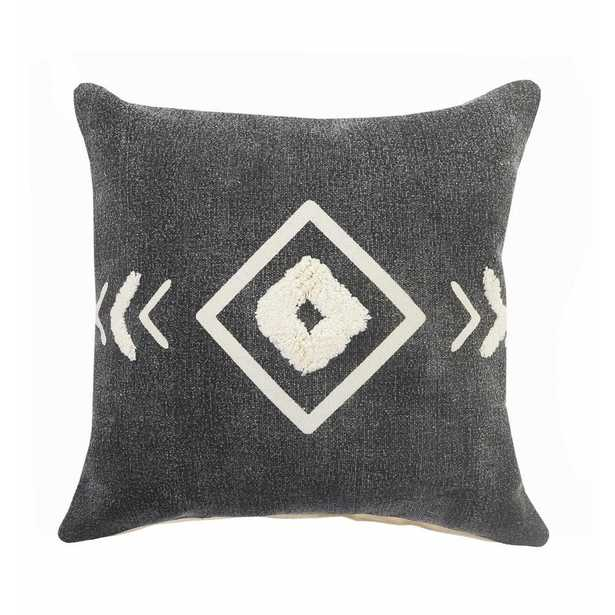 LR Home Geometric Black / White Tufted Diamond Cozy Poly-fill 20 in. x 20 in. Throw Pillow - Home Depot