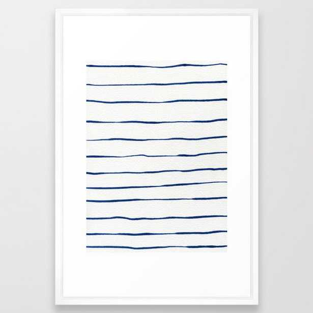 Blue Stripes Framed Art Print by Georgiana Paraschiv - Vector White - LARGE (Gallery)-26x38 - Society6