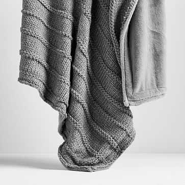 Faux Fur Chunky Knit Throw, Heathered Pewter - West Elm