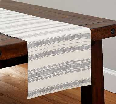 """French Stripe Table Runner, 18"""" wide x 108"""" long - Pottery Barn"""