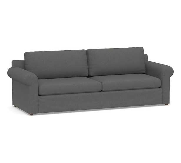 Shasta Roll Arm Slipcovered Grand Sofa, Polyester Wrapped Cushions, Park Weave Charcoal - Pottery Barn