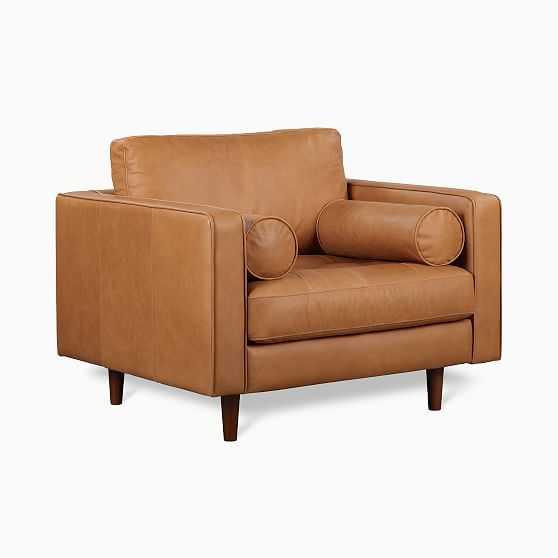 Dennes Chair Tan Charme Leather Walnut - West Elm
