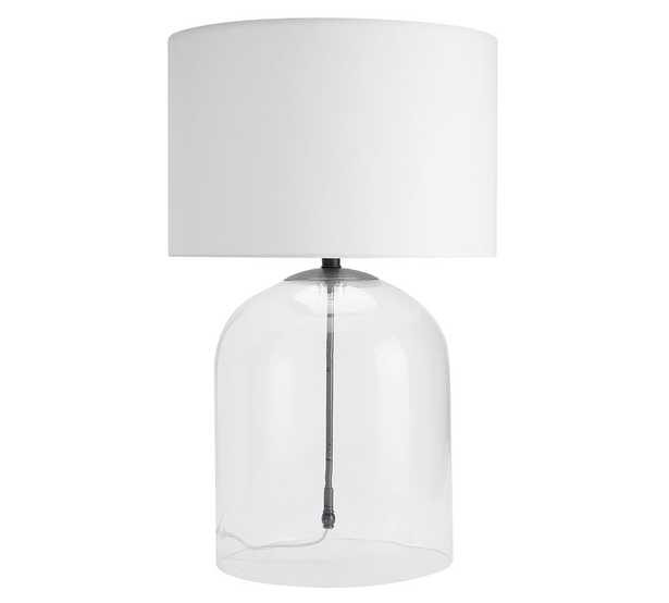 Aria Dome Table Lamp with Large Straight Sided Gallery Shade, Bronze/White - Pottery Barn