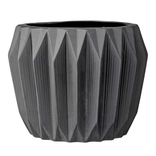 Round Grey Fluted Ceramic Flower Pot - Moss & Wilder