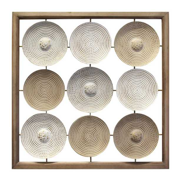 Stratton Home Decor Wood Frame and Metal Plates Wall Art, Multi Color - Home Depot
