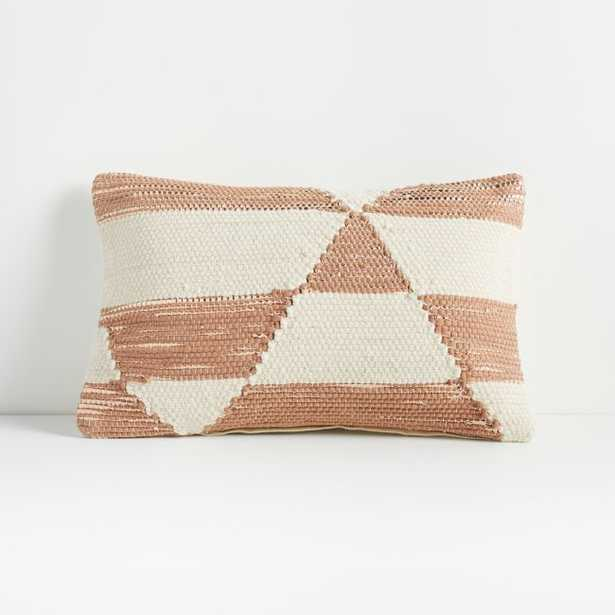 """Kyson White and Peach Pillow 16""""x24"""" - Crate and Barrel"""