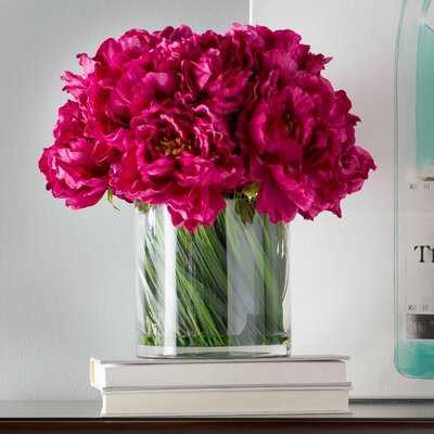 Peony Floral Arrangement in Acrylic Water Glass Vase - Birch Lane