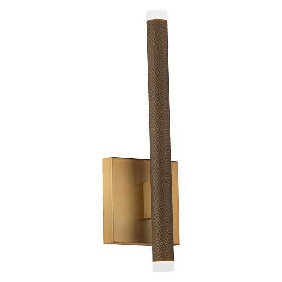 """Tubular Metal LED Sconce 15"""", Aged Brass - West Elm"""