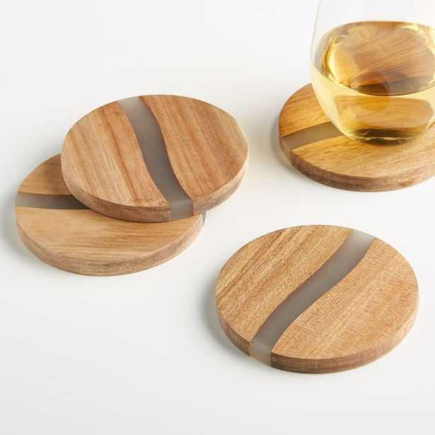 Wood and Resin Coasters, Set of 4 - Crate and Barrel