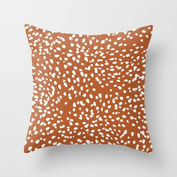 """Rust Dots - Painted Dots, Terracotta, Clay, Earth, Earth Toned, Boho, Brown, Brown Dots, Rust Orange, Painted Dots Couch Throw Pillow by Charlottewinter - Cover (18"""" x 18"""") with pillow insert - Outdoor Pillow - Society6"""
