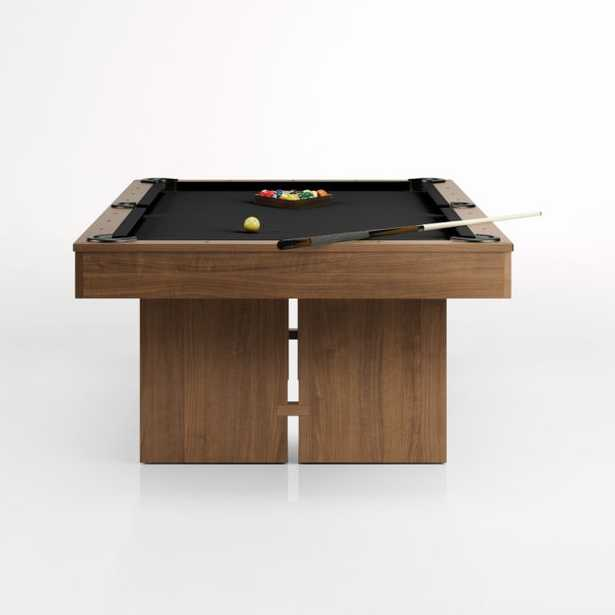 Black and Walnut Pool Table with Wall Rack and Accessories - Crate and Barrel