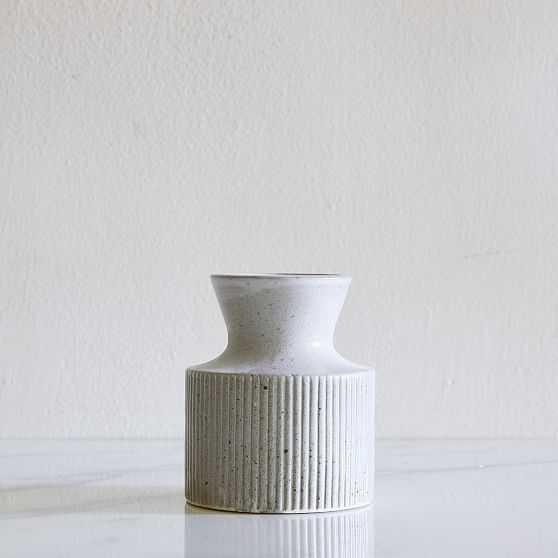 Textured Linework Vases, Round Short, White & Natural-Individual - West Elm