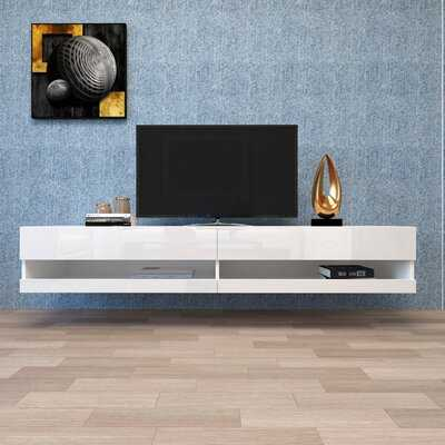 """Wall Mounted Floating 80"""" TV Stand With 20 Color Leds, Modern TV Stand, Wood Media Storage Console - Wayfair"""