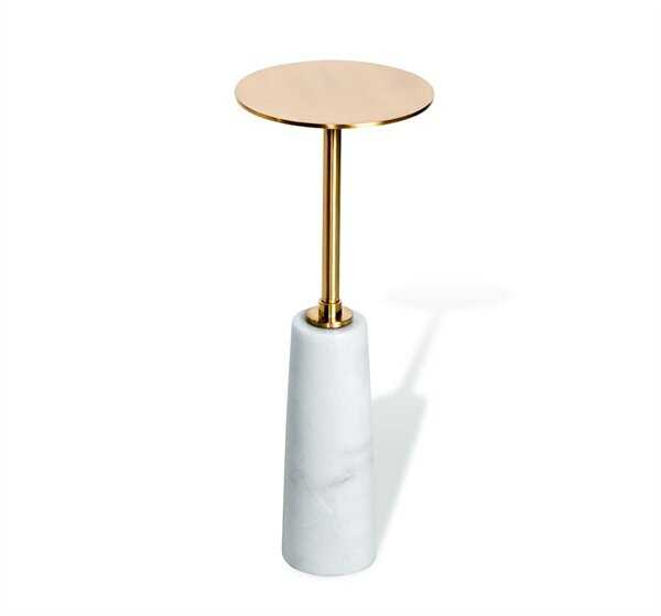 Interlude Beck Drink End Table Table Base Color: White, Table Top Color: Antique Brass - Perigold