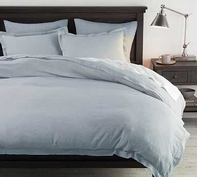 Belgian Flax Linen Double Flange Duvet Cover, King/Cal King, Chambray/Flax - Pottery Barn