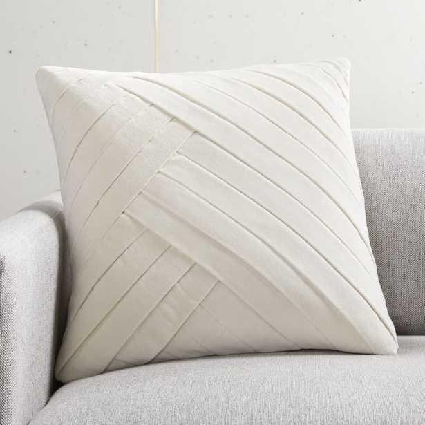"18"" Leger Velvet Pillow Ivory with Feather-Down Insert - CB2"