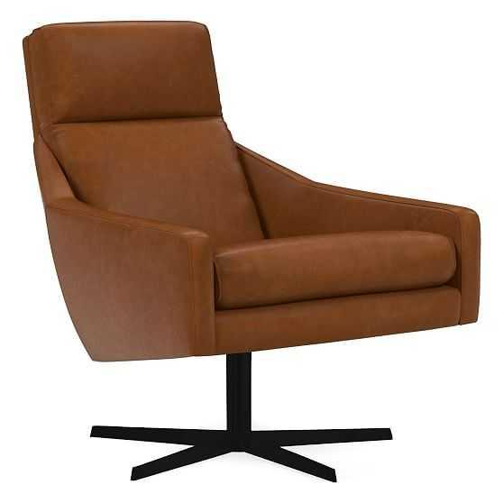 Austin Swivel Chair, Poly, Ludlow Leather, Mace, Antique Bronze - West Elm