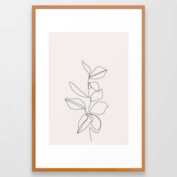 Botanical Illustration Line Drawing - Birdie I Framed Art Print by The Colour Study - Conservation Pecan - LARGE (Gallery)-26x38 - Society6
