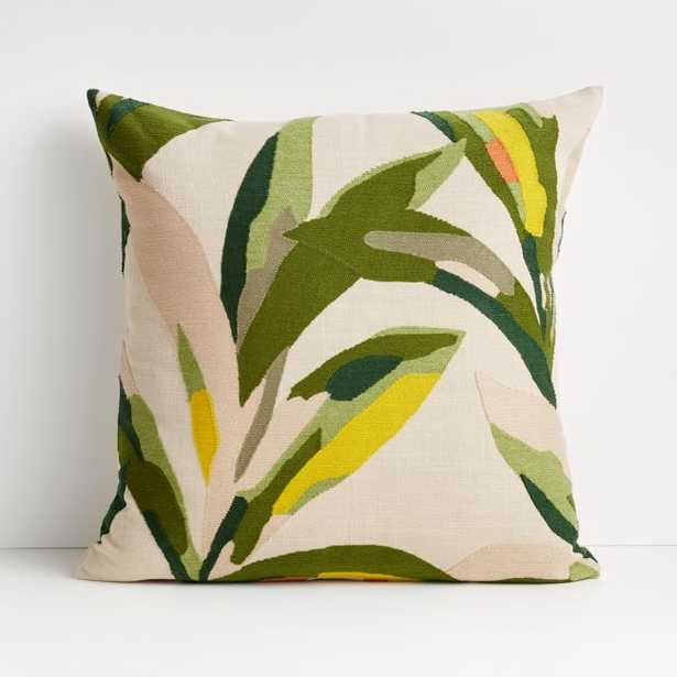 """20"""" Palma Leaf Pillow with Feather-Down Insert - Crate and Barrel"""