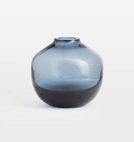 Audrey Low Round Blue Glass Vase - Rejuvenation