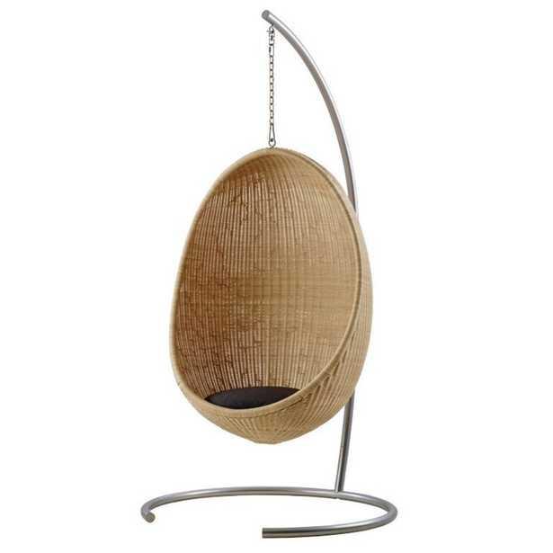 Yuri Coastal Beach Natural Rattan Outdoor Egg Chair +Tempotest Cushion +Chain +Stand - Kathy Kuo Home