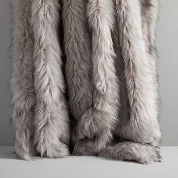 """Faux Fur Brushed Tips Throw, 47""""x60"""", Pearl Gray - West Elm"""