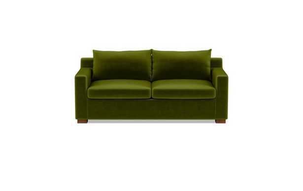 Sloan Sleeper Sleeper Sofa with Green Moss Fabric, down alternative cushions, and Oiled Walnut legs - Interior Define