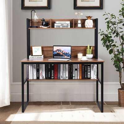 Storage Writing Desk Computer Desk With Hutch & Bookshelf-Walnut - Wayfair