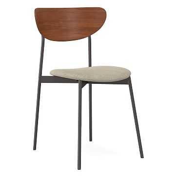 Modern Petal Upholstered Dining Chair, Distressed Velvet, Light Taupe, Antique Bronze - West Elm