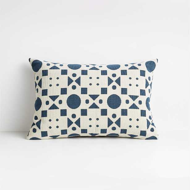 """Araati Blue Floral Pillow with Feather-Down Insert, 22""""x15"""" - Crate and Barrel"""