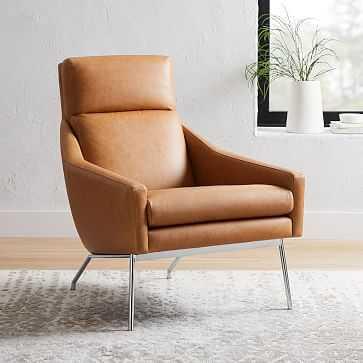 Austin Chair, Ludlow Leather, Mace, Dark Pewter - West Elm