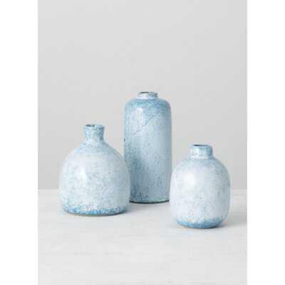 3 Piece Mona Blue Ceramic Table Vase Set - Wayfair