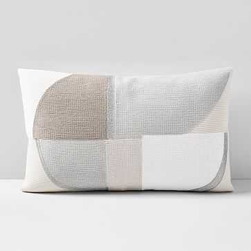 """Corded Quadrant Pillow Cover, 12""""x21"""", Frost Gray - West Elm"""