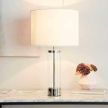 Acrylic Column Table Lamp + USB, Polished Nickel - West Elm