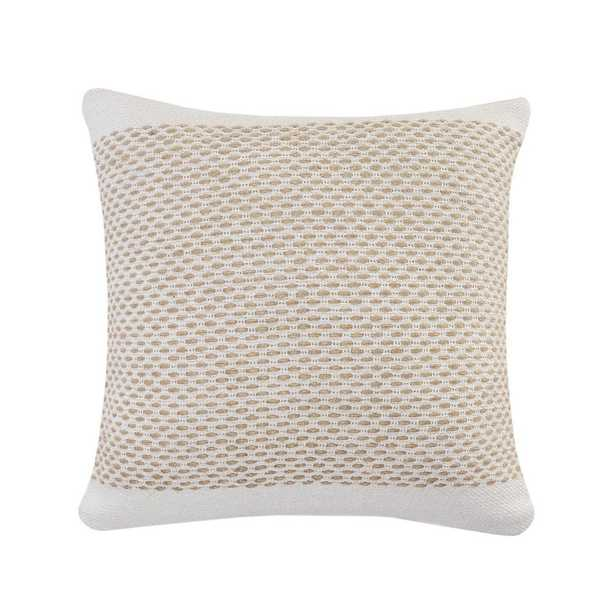 LR Home Interwoven Jute Off - White / Tan Latticework Cozy Poly-fill 20 in. x 20 in. Throw Pillow - Home Depot