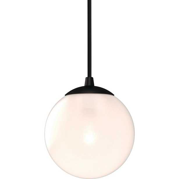Volume Lighting Lawrence 1-Light Foundry Bronze Indoor Mini Hanging Pendant w/ Etched White Cased Glass Round Sphere Globe Orb Shade - Home Depot