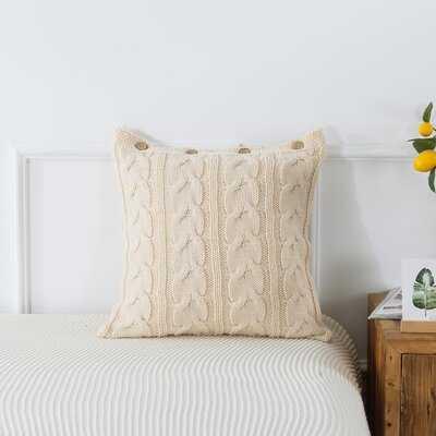 """Grey Cable Knit Pillow, 20""""X20"""" - Wayfair"""