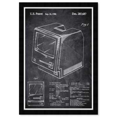17 Stories Prints 'Entertainment And Hobbies Apple Macintosh 128K 1986 - Noir Chalkboard Video Games' Framed Art Print - Wayfair