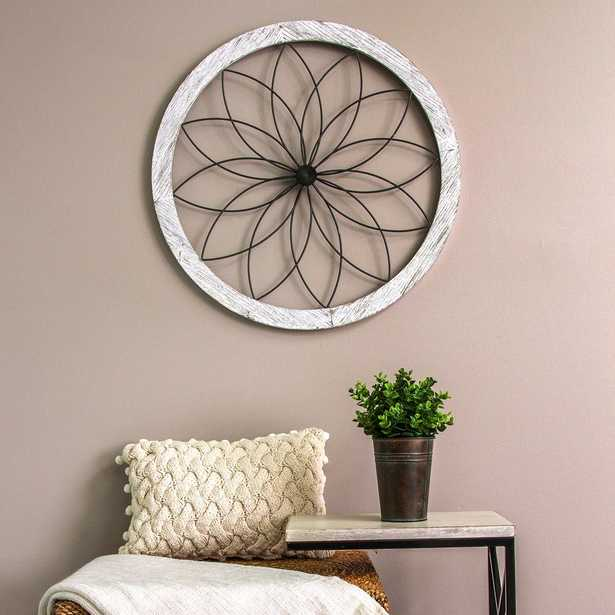 Flower Metal and Wood Art Deco Wall Decor - Home Depot