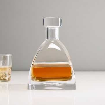 Glass Decanter, Pyramid Whiskey, Clear - West Elm