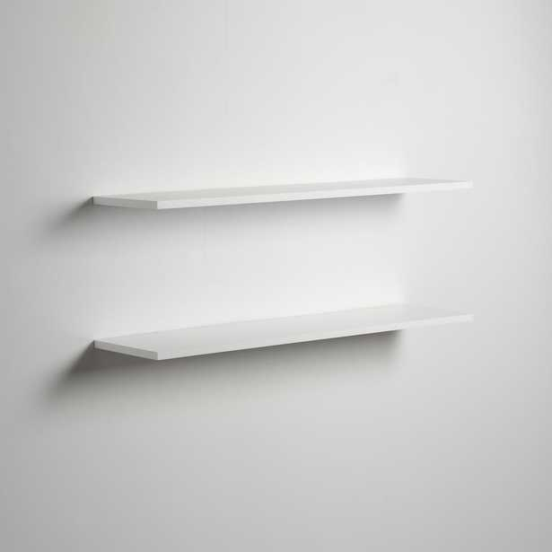 Delta 36 in. W x .5 in. H x 8 in. D Slim White Floating Shelves (2-Pack) - Home Depot