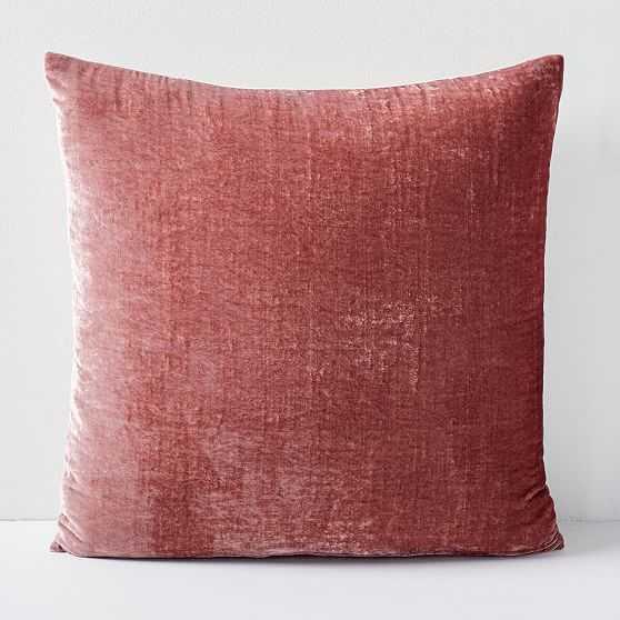 """Lush Velvet Pillow Cover, Pink Grapefruit, 20""""x20"""" - West Elm"""