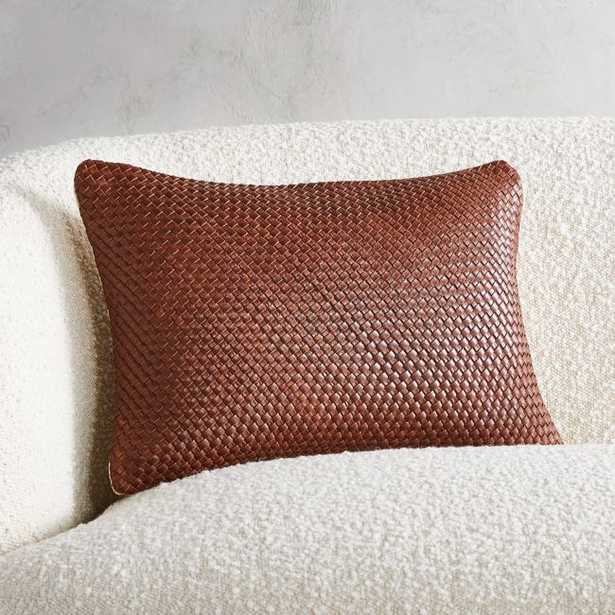 """18""""x12"""" Route Leather Chocolate Pillow with Feather-Down Insert - CB2"""