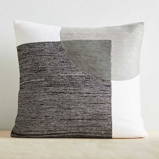 """Crewel Overlapping Shapes Pillow Cover, 18""""x18"""", Black - West Elm"""