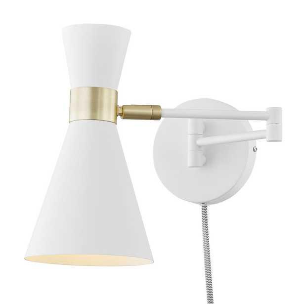 Light Society Beaker Plug-In Wall Sconce in White - Home Depot